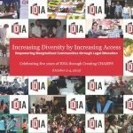 "A collage with IDIA logos and photograph. In the middle following text is visible: ""Increasing Diversity by Increasing Access""."