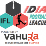 Logo of IDIA Football League with a black hexagon with a tie, a red hexagon with a person kicking a football and a blue hexagon saying IFL. IDIA Football League Powered by Vahura. Because Our Laws Need Champions.