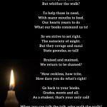 Poem titled walk the talk on a black background with a candle.