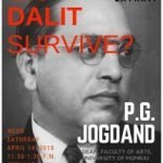 """A poster with title """"Will the Dalit Survive"""" PG Jogdand. There is photograph of Dr. Ambedkar in the background."""