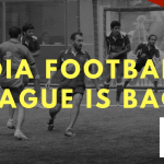 Black and white photograph of some people on a football field. Text: IDIA FOOTBALL LEAGUE IS BACK. Logo: IDIA Football League powered by Vahura.