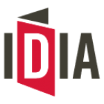 Black, white and red logo of IDIA.